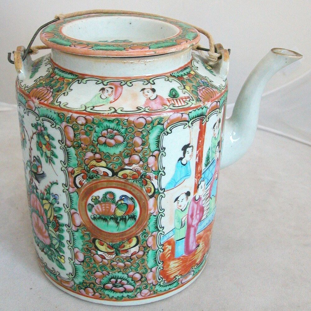 Antique Chinese Famille Rose Medallion Teapot w ...