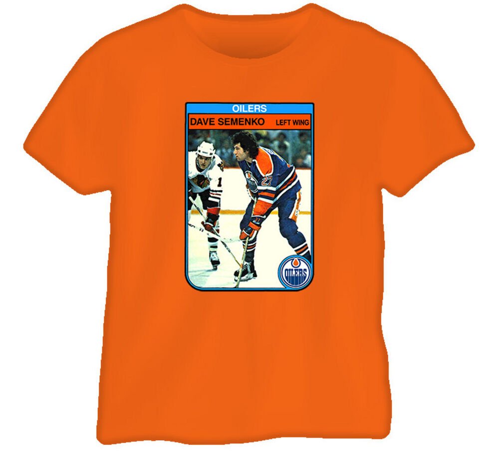 Dave semenko edmonton vintage hockey card t shirt ebay for Retro nhl t shirts
