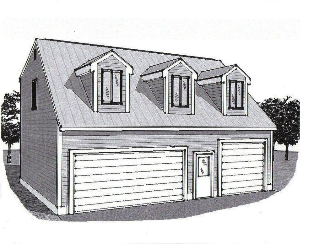 36x28 3 car garage building plans dormered loft 12x28 for Three car garage house plans