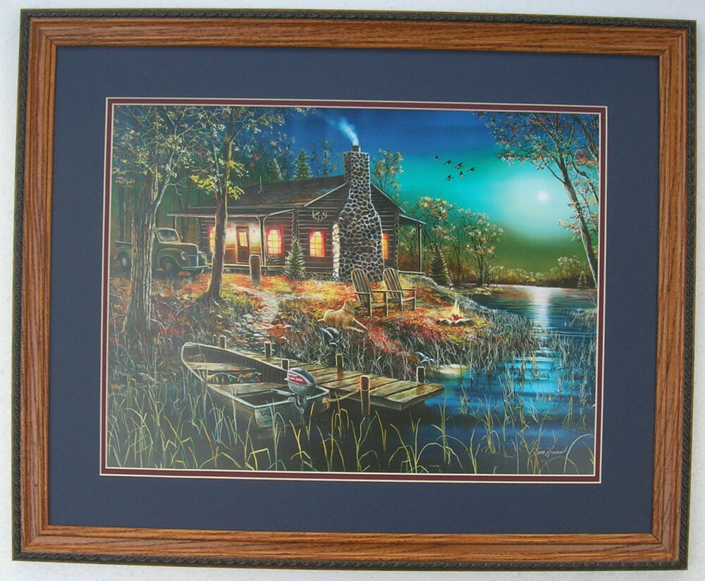 After Dark Jim Hansel Cabin Framed Country Picture Print
