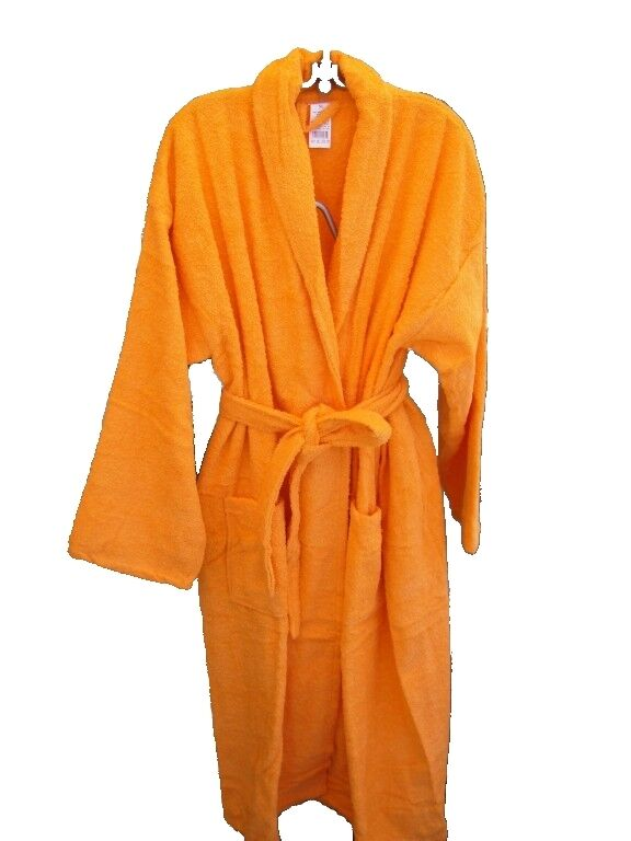 new mens womens spa terry bath robe 100 cotton orange bathrobe s xl ebay. Black Bedroom Furniture Sets. Home Design Ideas