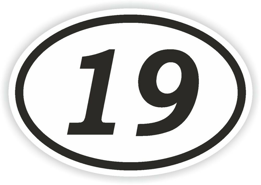 19 nineteen number oval sticker bumper decal car motocross motorcycle aufkleber ebay. Black Bedroom Furniture Sets. Home Design Ideas