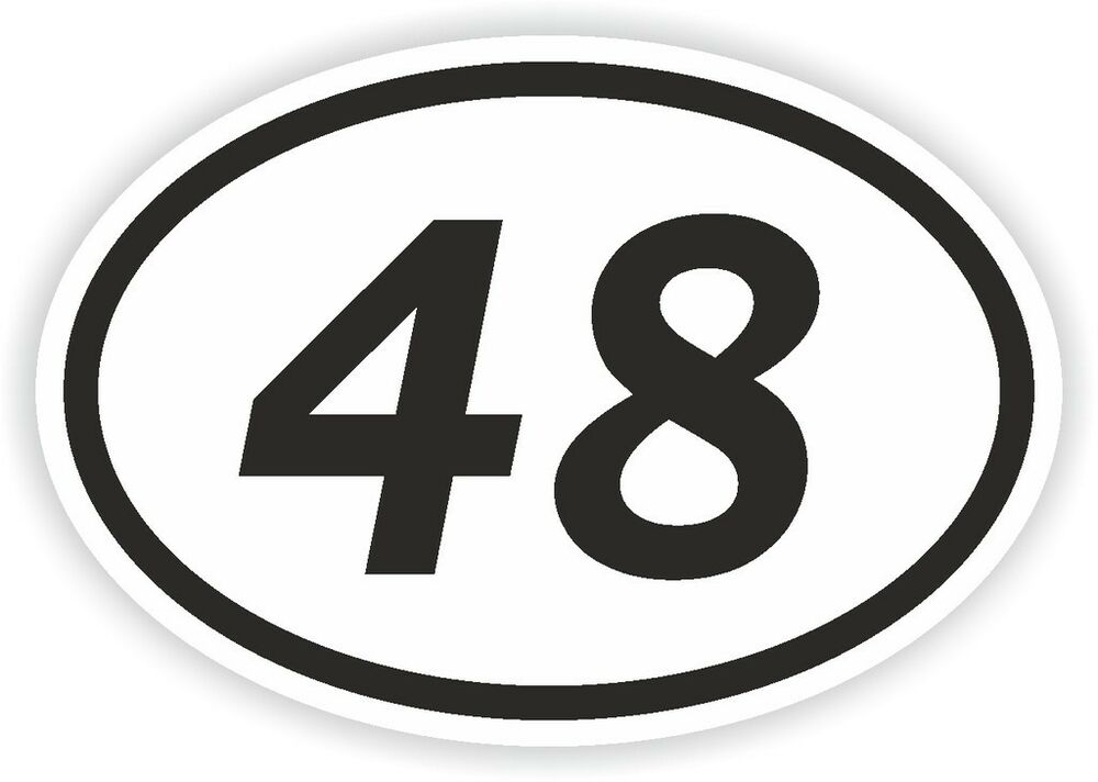 48 forty eight number oval sticker bumper decal motocross motorcycle aufkleber ebay. Black Bedroom Furniture Sets. Home Design Ideas