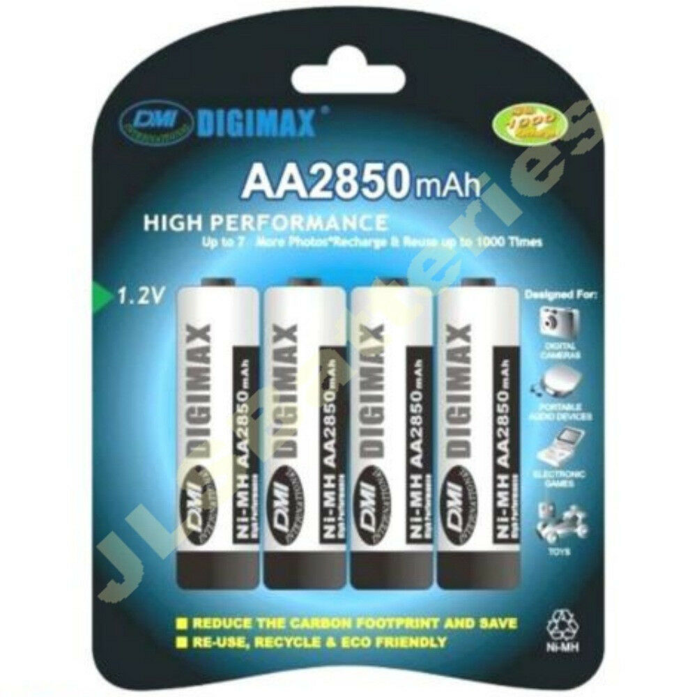 4 x aa digimax rechargeable 2850 mah ni mh batteries. Black Bedroom Furniture Sets. Home Design Ideas