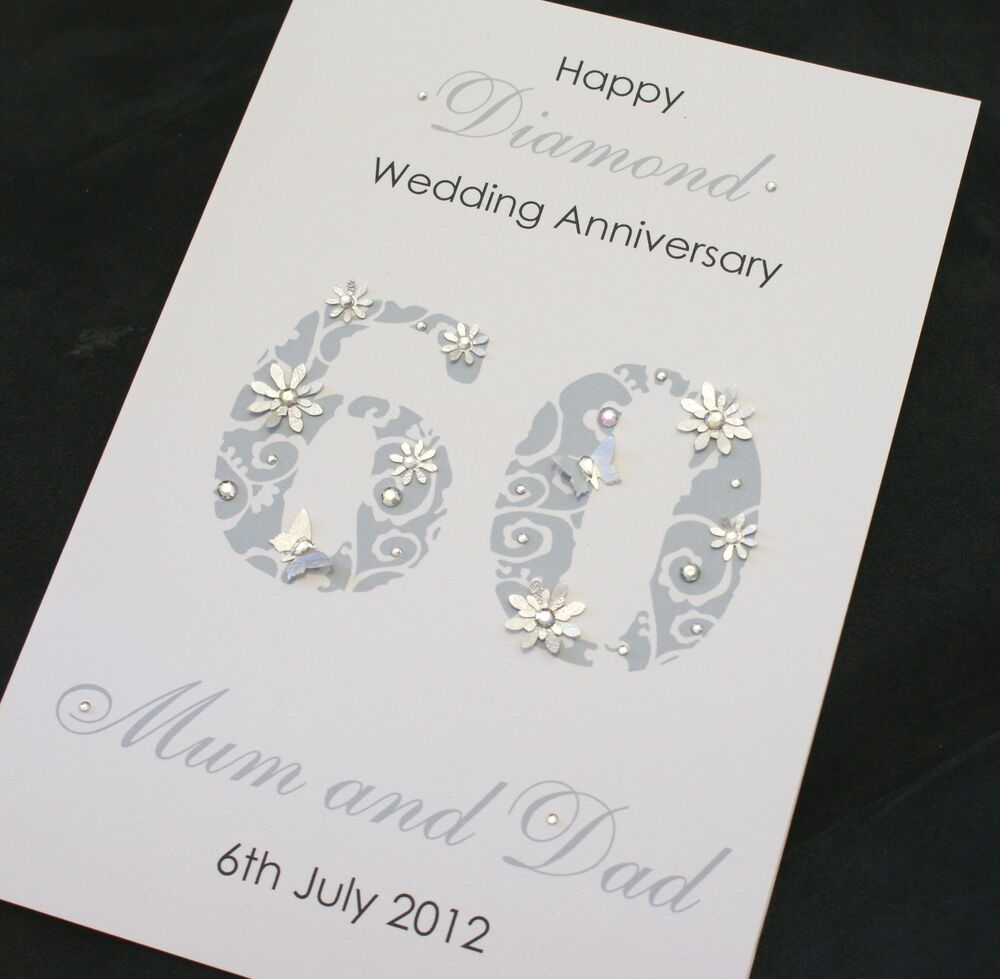 Diamond Wedding Anniversary Gift Ideas Uk : ... Handmade Personalised 60th DIAMOND Wedding Anniversary Card eBay
