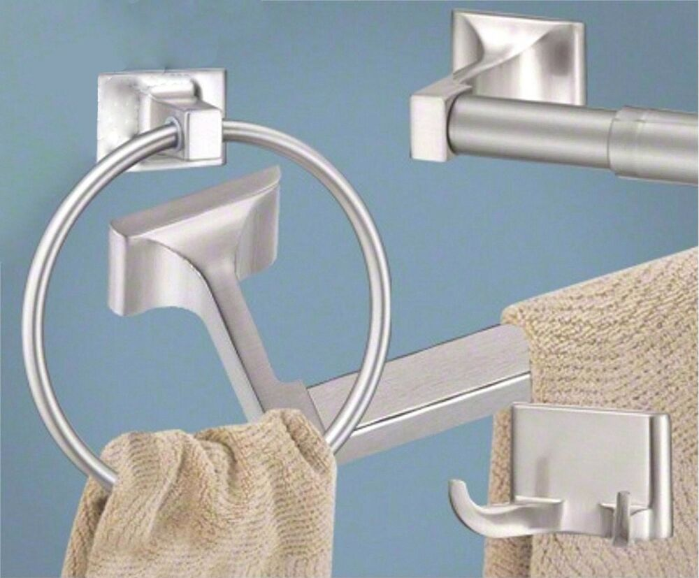 Satin Brushed Nickel 4 Pc Bathroom Hardware Accessory Set Sunset Series Ebay