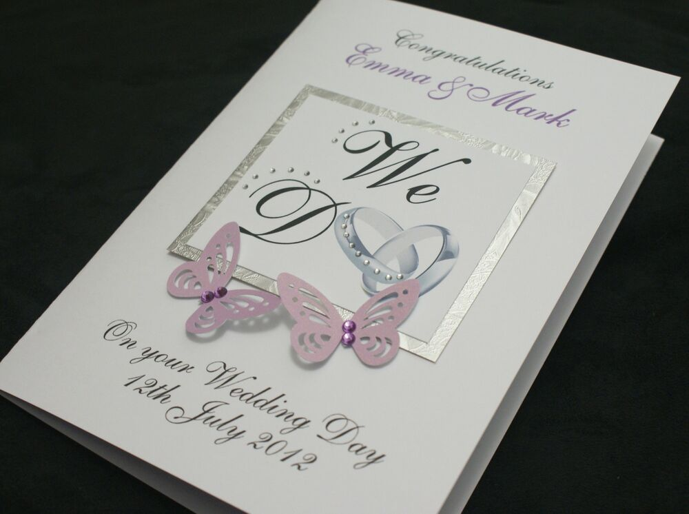 LARGE Handmade Personalised WE DO Congratulations Wedding Card