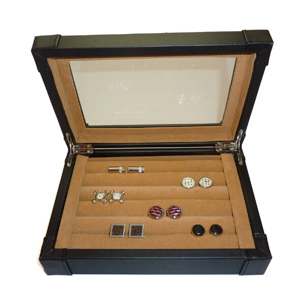 Black leather cufflink ring storage display case cuff for Ring case