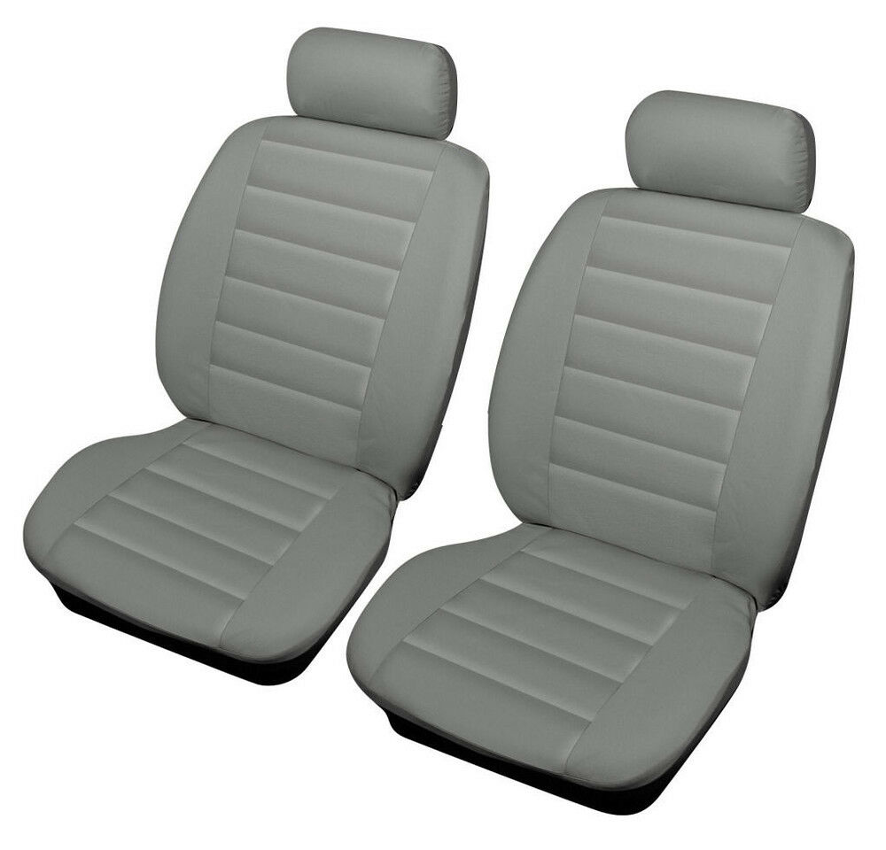 kia sedona 06 on grey front leather look sport car seat covers airbag ready ebay. Black Bedroom Furniture Sets. Home Design Ideas