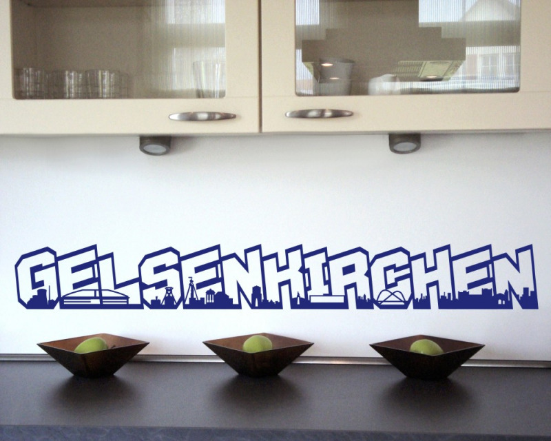 wandtattoo gelsenkirchen schriftzug skyline schalke wandaufkleber wandsticker ebay. Black Bedroom Furniture Sets. Home Design Ideas