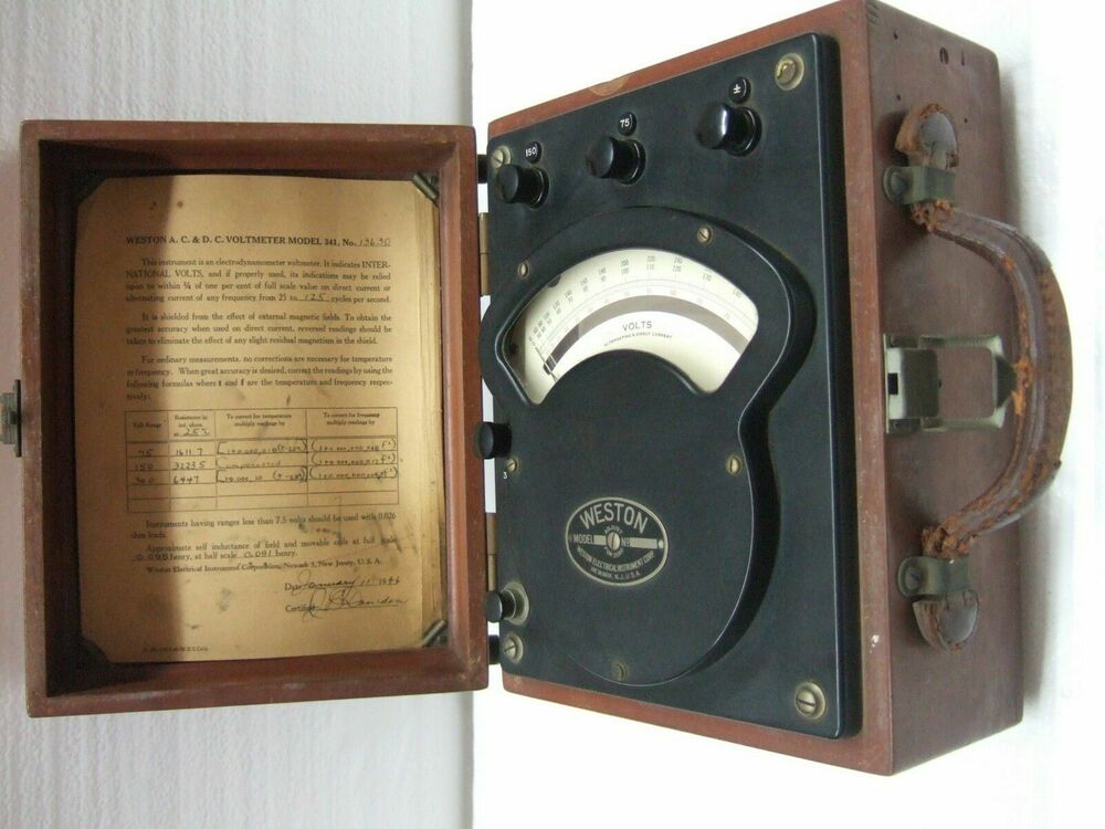 Antique Electrical Measuring Instruments : Vintage antique weston model ac dc volt meter