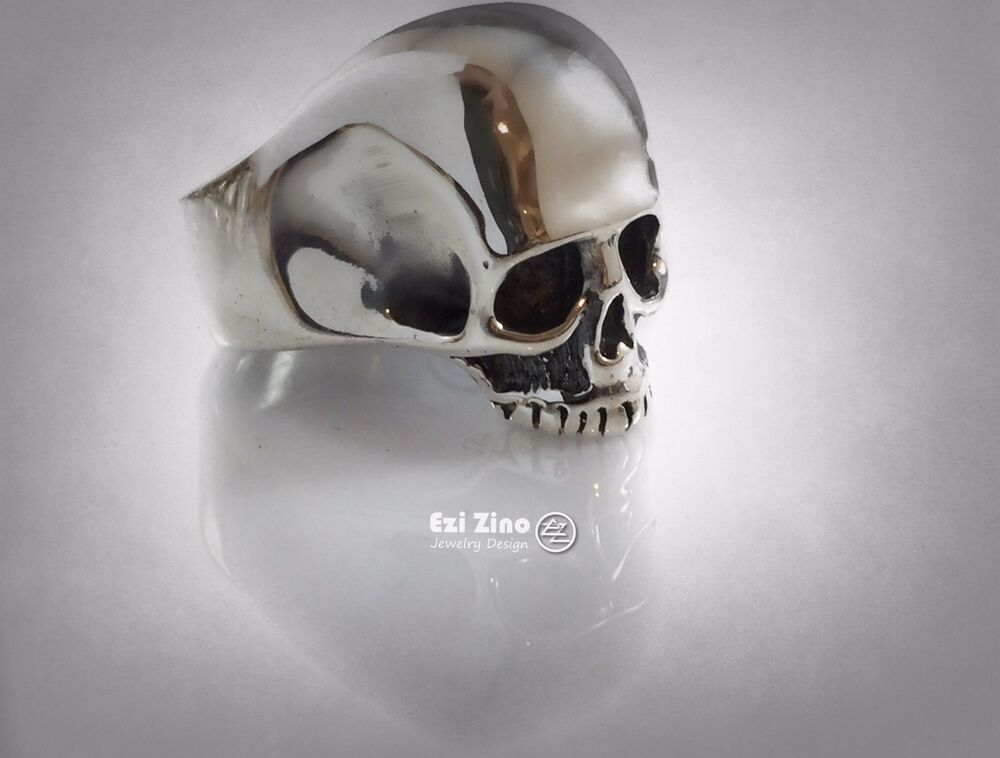 keith richards solid sterling silver heavy skull 925 ring