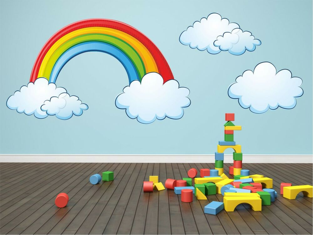 Rainbow Clouds Kids Room Removable Wall Sticker Art