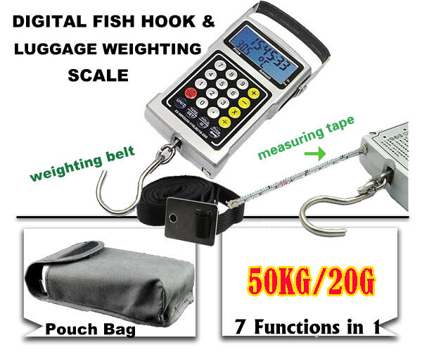 Digital fish hook 50kg luggage weighing scale 7 in 1 for Fish weight scale