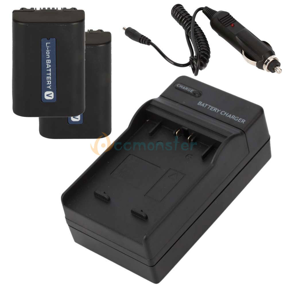 2 Battery Charger For Sony Handycam Np Fv50 Np Fv40 Np