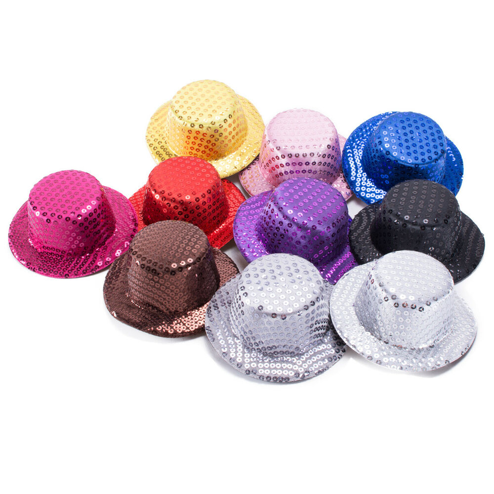 Sequin mini top hats craft fascinator alligator clips a008 for Small alligator clips for crafts