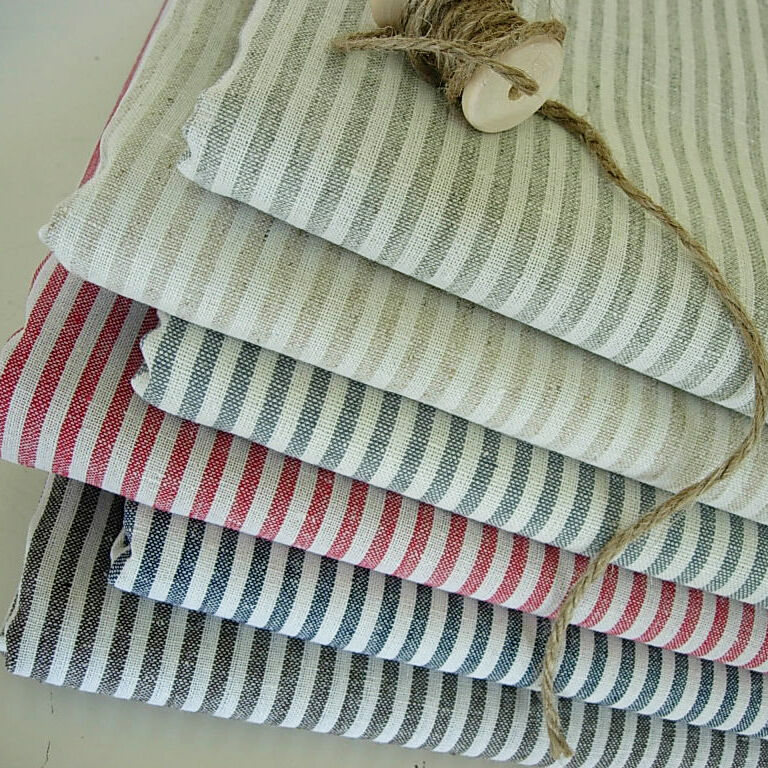 shabby chic woven ticking stripe cotton linen fabric ebay. Black Bedroom Furniture Sets. Home Design Ideas