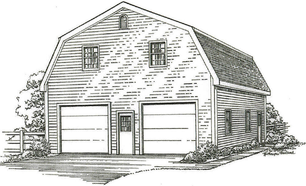 30 x 40 2 car gambrel style garage building plans with for 32 x 40 garage plans