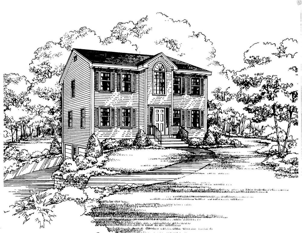 3 bdrm 1 1 2 bath 1544 sf opt 2 car garage under colonial house building plan ebay - House plans with garage below ...
