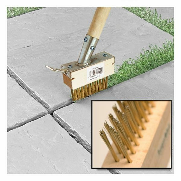 2in1 Metal Cover Extra Long Paving Brush Patio Weed Remove