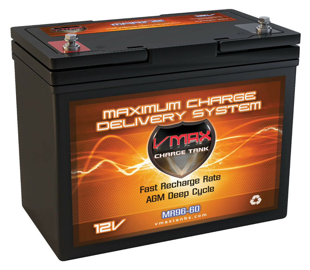 vmax mr96 12v agm deep cycle marine battery for 40 50lb fishing trolling motor ebay. Black Bedroom Furniture Sets. Home Design Ideas