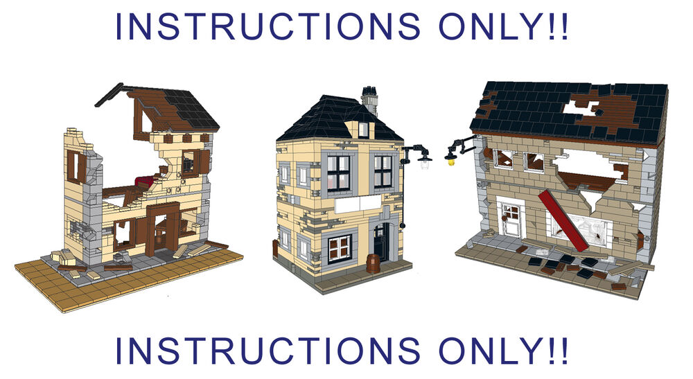 Lego Custom Wwii Ww2 3 Big Buildings Instructions Only Includes