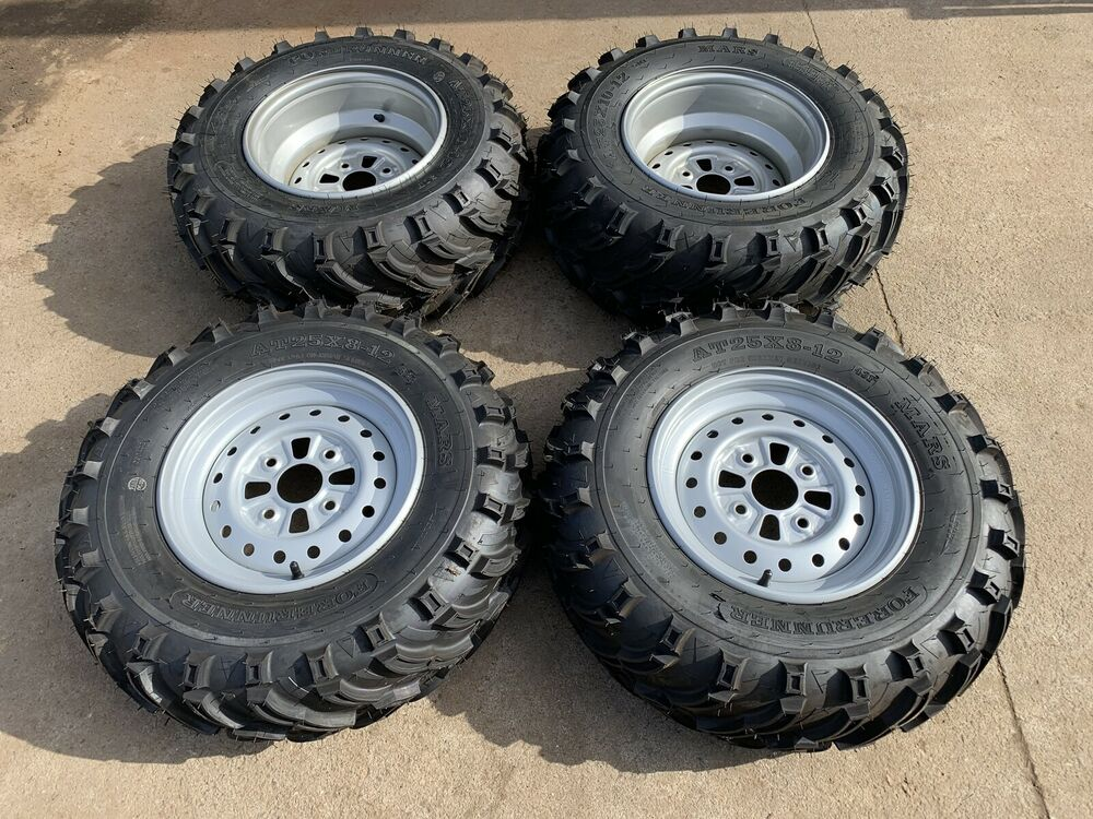 Atv Rims Wheel Covers : Front rear inch atv rims tyres package set ebay