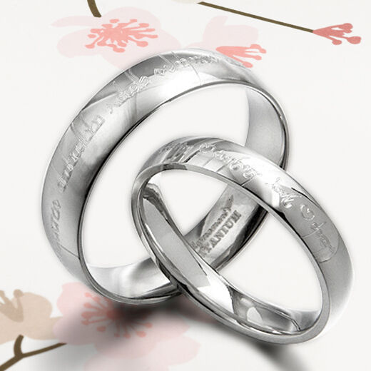 YourWord His&Her Matching Silver Wedding Engagement Titanium Rings Set F2