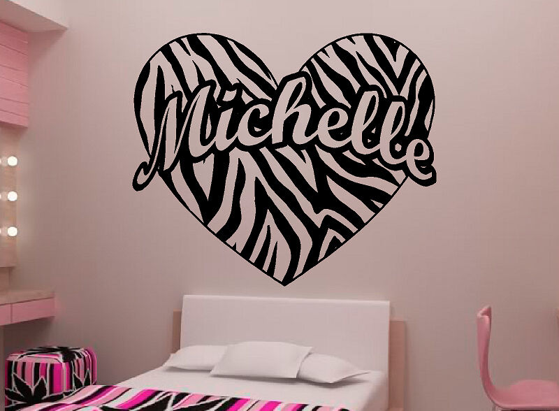 zebra print heart custom name vinyl wall decal sticker ebay