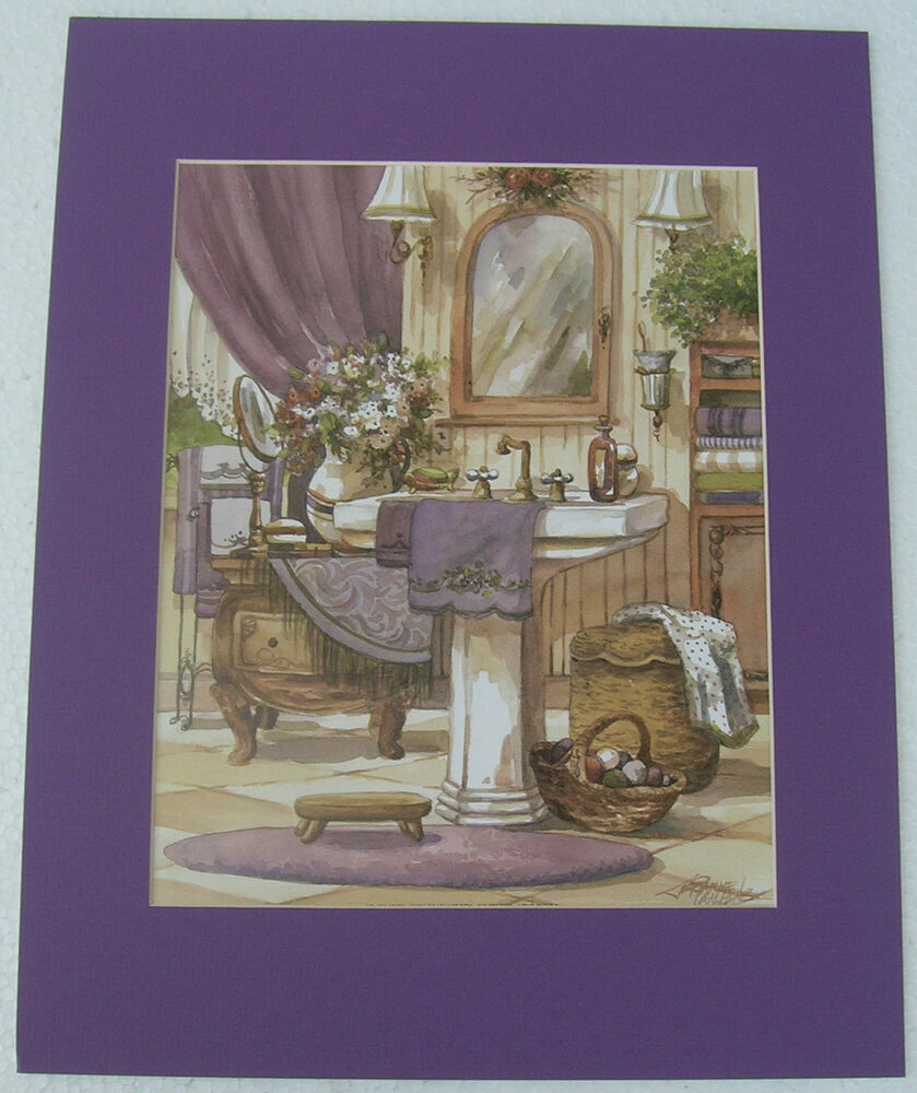 Bathroom Prints Antique Looking Matted Country Picture