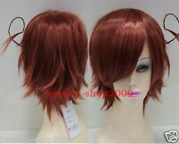 Title901 New wig Cosplay Axis Powers Hetalia APH Short Red Brown Wig