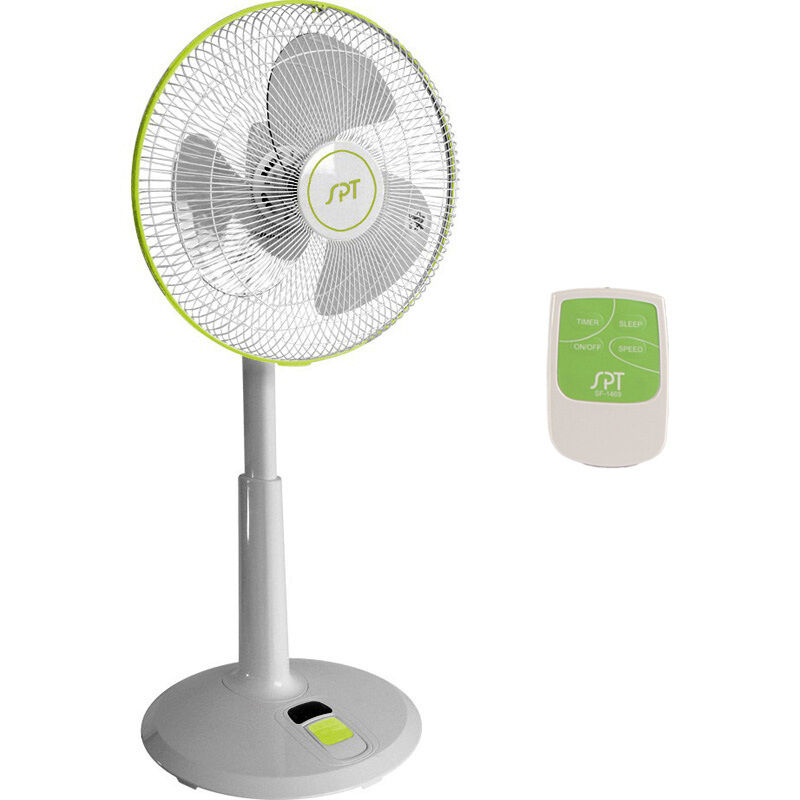 Dc motor oscillating standing floor fan w remote control for 14 inch chrome floor standing fan