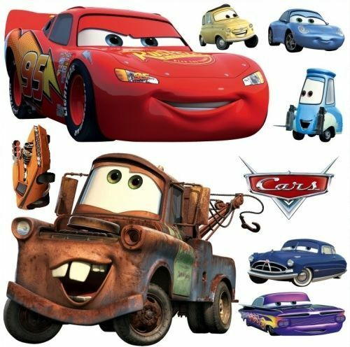 Cars disney lightning mcqueen mater wall decal art mural for Disney cars mural uk