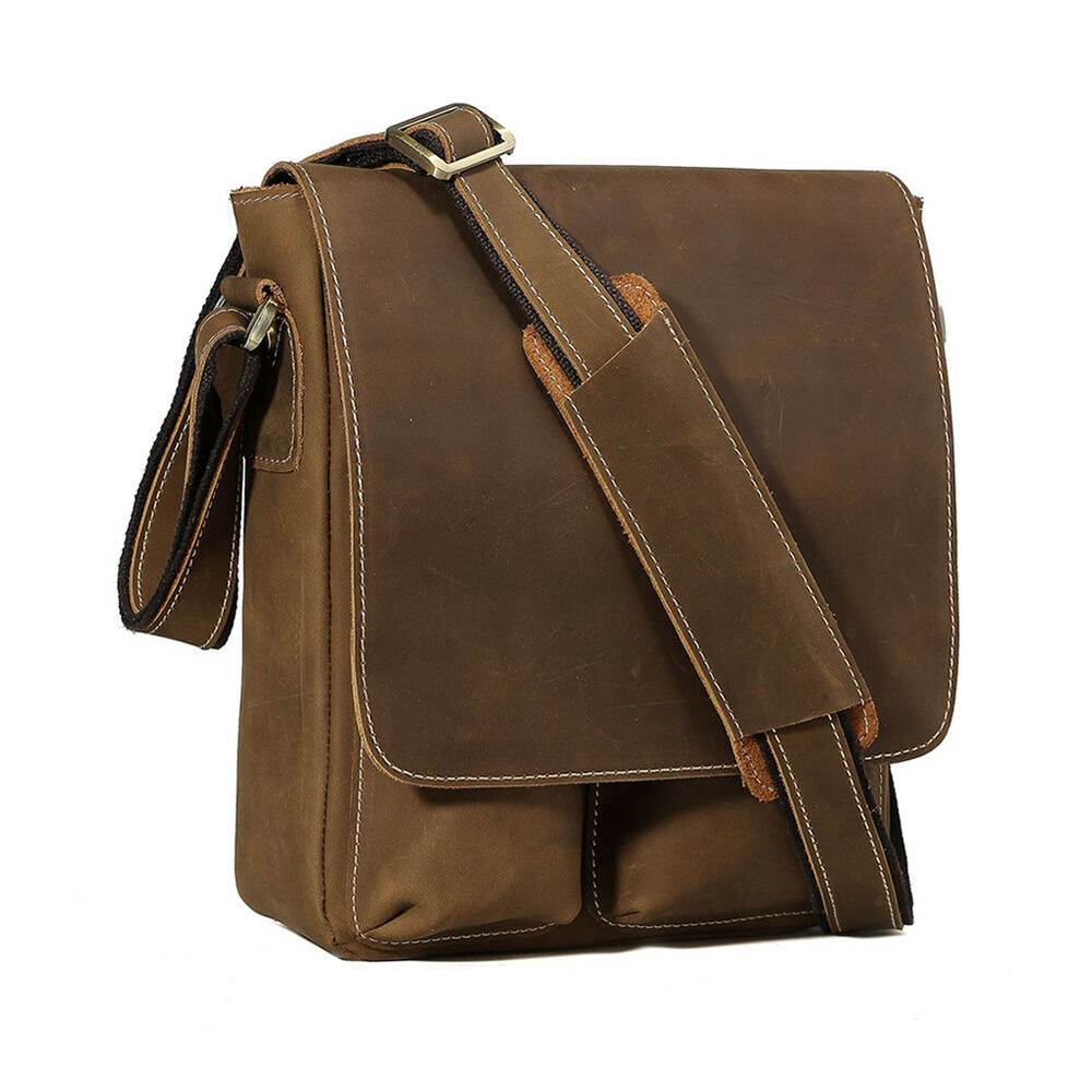 men 39 s satchel real genuine leather cross body messenger shoulder bags briefcase ebay. Black Bedroom Furniture Sets. Home Design Ideas