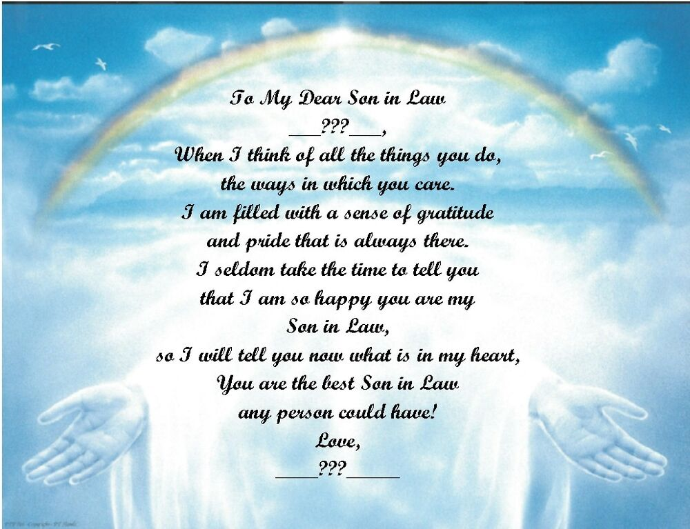 Christmas Birthday Gift For Son In Law Personalized Poem Rainbow Hands