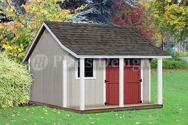 12 39 x 12 39 backyard storage shed with porch plans p81212 for Shed plans and material list