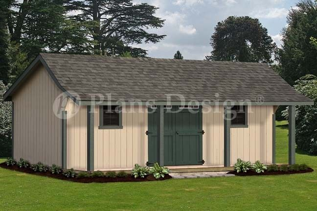 16 39 x 24 39 guest house storage shed with porch plans for Barn house plans with porches