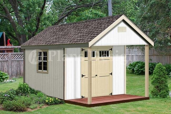 16 39 x 12 39 cabin shed covered porch plans plueprint p61612 for Shed with porch and loft