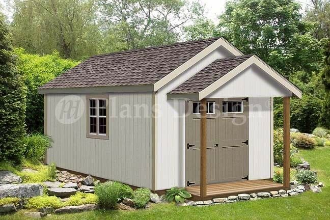 20 39 x 12 39 guest house garden porch shed plans p72012 for Storage building plans with porch