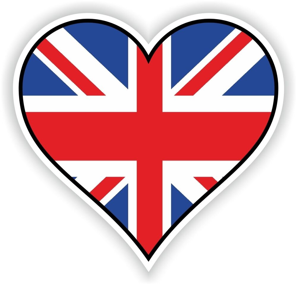 uk union jack heart vinyl sticker bumper decal love flag. Black Bedroom Furniture Sets. Home Design Ideas