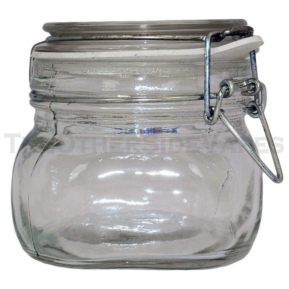 new wire bale small clear latch top air tight glass jar. Black Bedroom Furniture Sets. Home Design Ideas