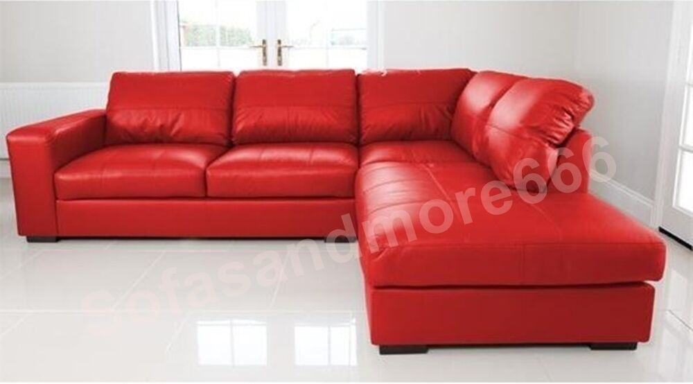 Brand New Westpoint Big Corner Sofa In Red Faux Leather