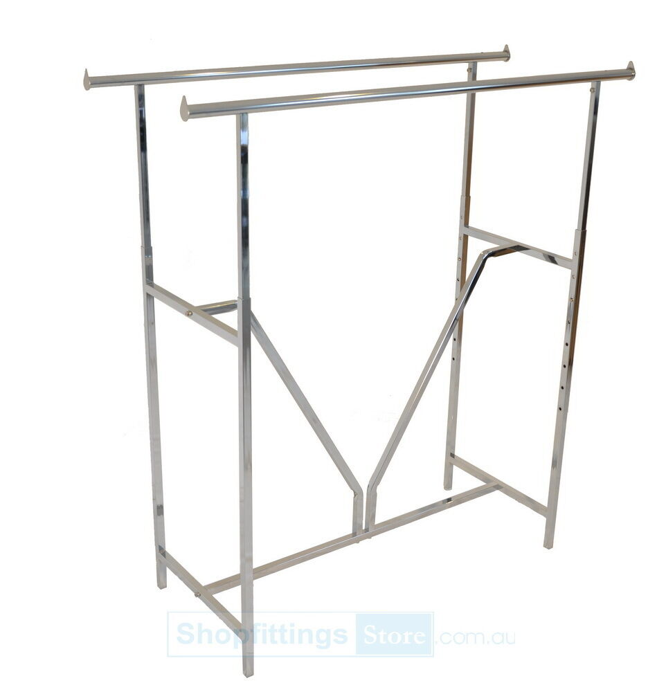 Double Straight Rack Garment Clothes Clothing Rail