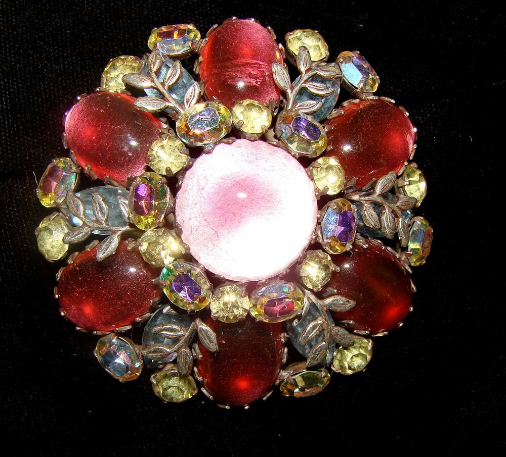 VINTAGE LARGE VENDOME CABACHON BROOCH PIN ABS PINK ROSE