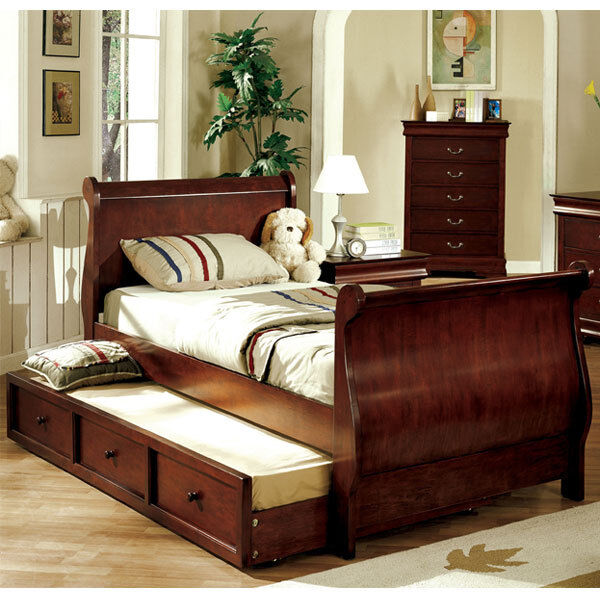 solid wood louis philippe jr dark cherry bed frame w trundle ebay. Black Bedroom Furniture Sets. Home Design Ideas