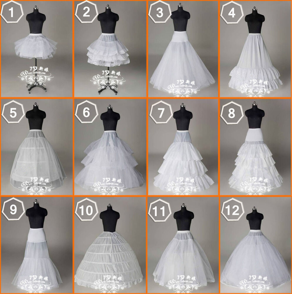 New 12 styles wedding bridal hoops hoopless petticoat for Petticoat under wedding dress