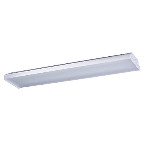 1 X 2 Led Light Fixture: 4 Feet 2-Lamp White Fluorescent Wraparound Ceiling Fixture