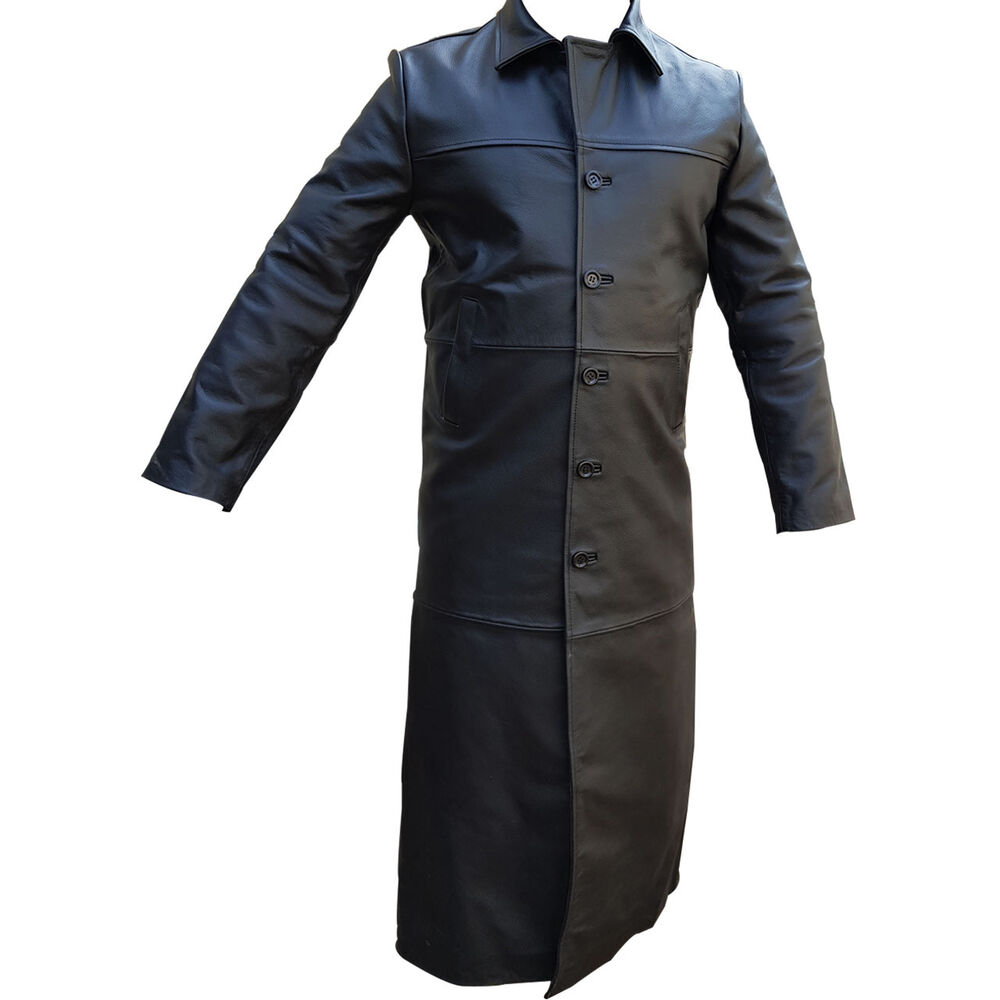 Mens Trench Coat Sexy Real Black Leather Full Length -7601
