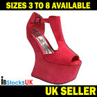 Ladies Womens High Heel-Less Wedge Peep Toe T-Bar Shoes Size 3 4 5 6 7 8 (WRD8