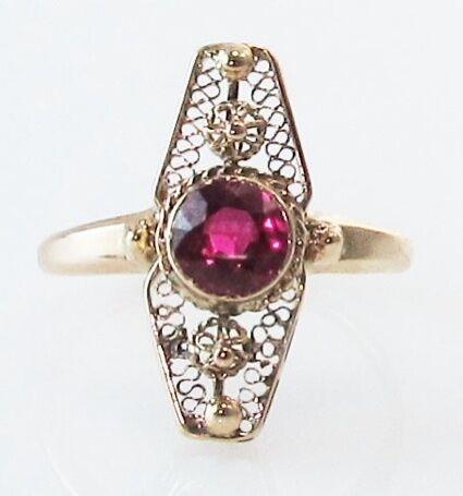ANTIQUE VICTORIAN RUBY 14K FILIGREE YELLOW GOLD VINTAGE ...